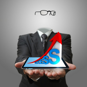 Invisible Business Man Hand Showing 3d Of Success Graph Business