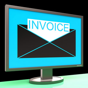 Invoice In Envelope On Monitor Showing Sending Payments