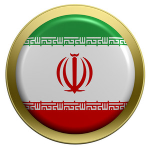 Iran Flag On The Round Button Isolated On White.