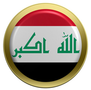 Iraq Flag On The Round Button Isolated On White.