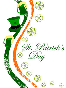 Irish Flag Having Hat And Beer Mugs With Shamrocks Leaf For Patrick's Day.  Vector