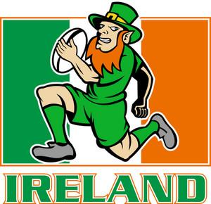 Irish Leprechaun Rugby Player Ireland Flag