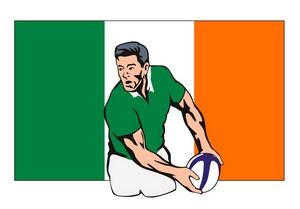 Irish Rugby Player Passing Ball