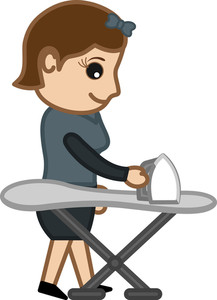 Ironing The Cloth - Office Character - Vector Illustration