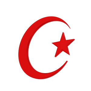 Islamic Crescent Religious Sign Isolated On White.