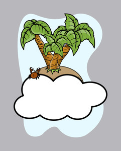 Island Over Cloud - Vector Cartoon Illustration