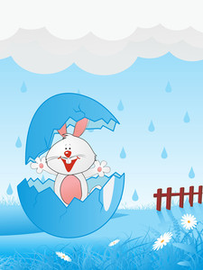 Isolated Blue Broken Egg In Rabbit