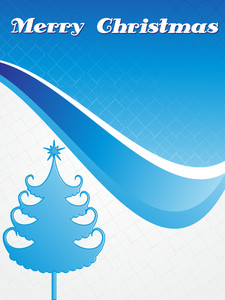 Isolated Blue Xmas Tree With Background