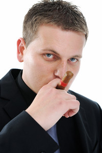 Isolated Businessman with cigar