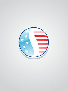 Isolated Button In Us Flag