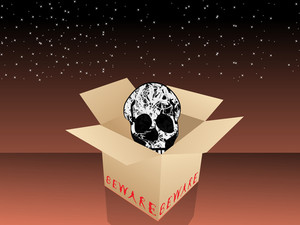 Isolated Cardboard Box In Skull