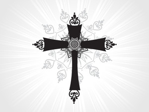 Isolated Cross With Grey Rays Background