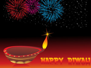Isolated Diya On Firework Background