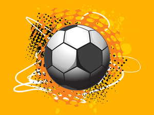 Isolated Football With Orange Background