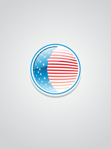 Isolated Glossy Button In Us Flag