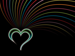 Isolated Glossy Heart With Colorful Lines