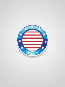 Isolated Glossy Us Button