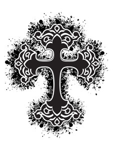 Isolated Grungy Black Cross