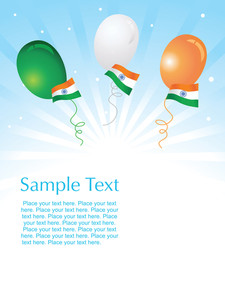 Isolated Indian Flag And Balloon Vector Illustration