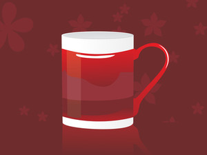 Isolated Maroon Coffee Cup With Bloom Background