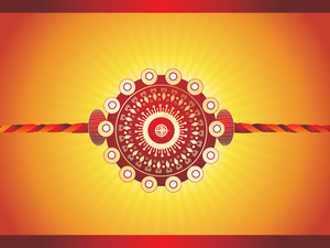 Isolated Maroon Rakhi On Yellow Background