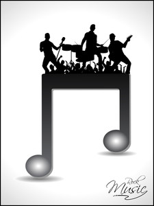 Isolated Musical Note Having On Disco Orchestra Silhouette. Vector.