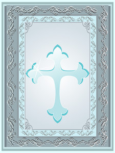 Isolated Seagreen Cross With Creative Border