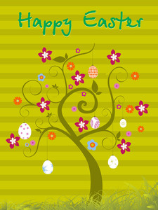 Isolated Tree With Easter Background