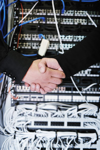 It engineer in network server room