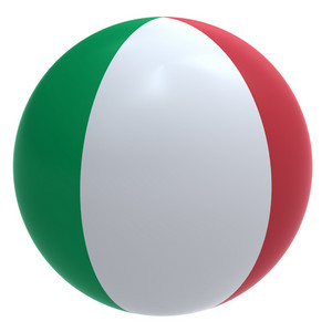 Italy Flag On The Ball Isolated On White.