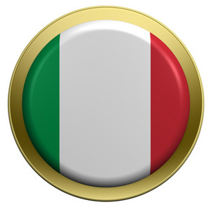 Italy Flag On The Round Button Isolated On White.