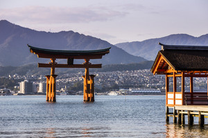 Itsukushima Shrine famous place at Miyajima. Hiroshima. Japan