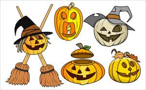 Jack O' Lantern And Pumpkin Vectors Set