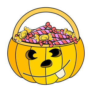 Jack O' Lantern  Container Full Of Candies - Halloween Vector Illustration