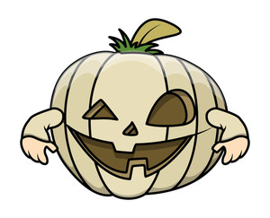 Jack O' Lantern Funny Cartoon Costume - Halloween Vector Illustration
