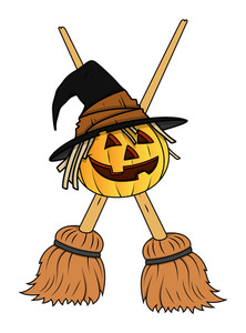 Jack O' Lantern With Crosses Brooms - Halloween Vector Illustration