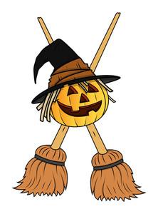 Jack O' Lantern With Crosses Brooms - Halloween Vector Illustration