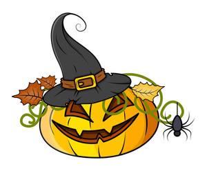 Jack O' Lantern With Hat - Halloween Vector Illustration