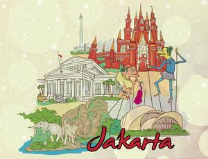 Jakarta Doodles Vector Illustration