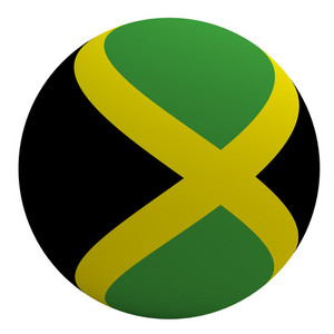 Jamaica Flag On The Ball Isolated On White.
