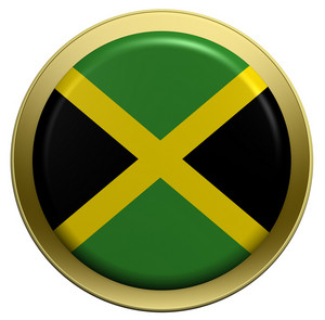 Jamaica Flag On The Round Button Isolated On White.