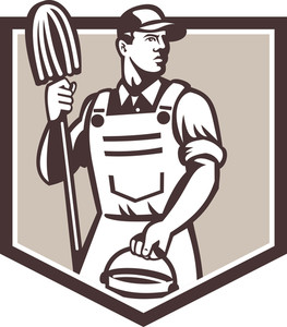 Janitor Cleaner Holding Mop Bucket Shield Retro