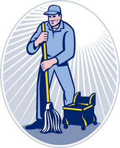Janitor Cleaner With Mop Cleaning Retro
