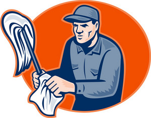 Janitor Cleaner With Mop Wiping Retro