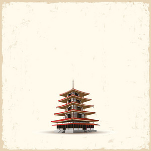 Japanese Pagoda On Grunge Background