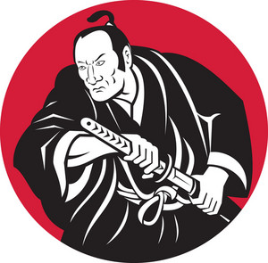 Japanese Samurai Warrior Drawing Sword