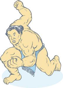 Japanese Sumo Wrestler Fighting Stance