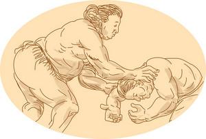Japanese Sumo Wrestler Sketch