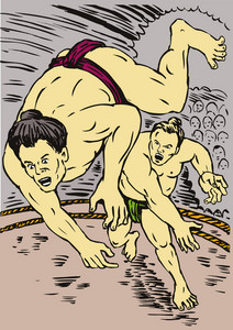 Japanese Sumo Wrestlers Throwing