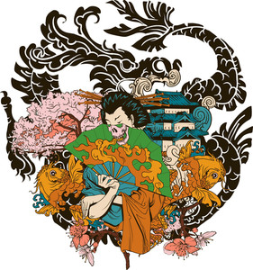 Japanese Vector T-shirt Design With Geisha